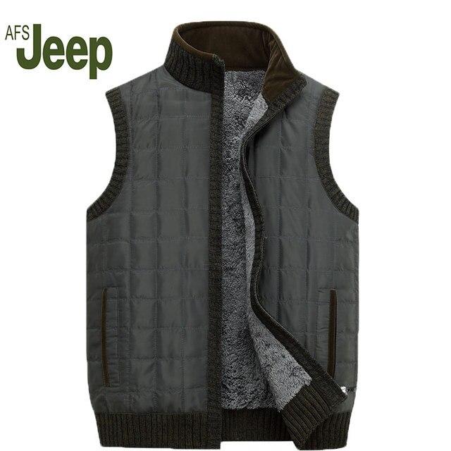 2016 AFS JEEP new men's down jacket vest autumn and winter plus thick velvet warm middle-aged men's large size vest 130
