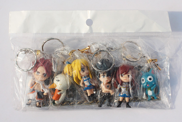 Fairy Tail 6cm Anime Action Figure 6pcs/lot Collectible Model Keychain Toy