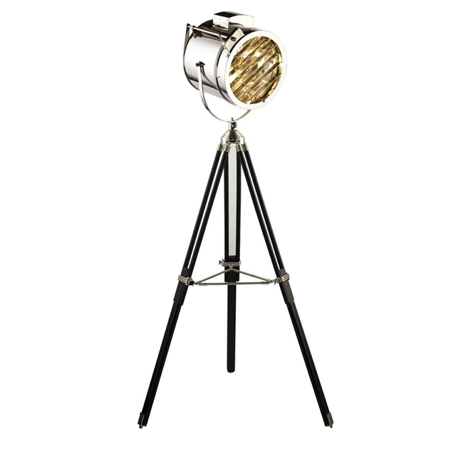 Luxury Stainless Steel Wooden Tripod Floor Lamp Silver Decorative ...