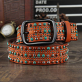 New Color rivet decoration belt  wide 100%Head layer cowhide personality studded women's belt Gothic turquoise belt