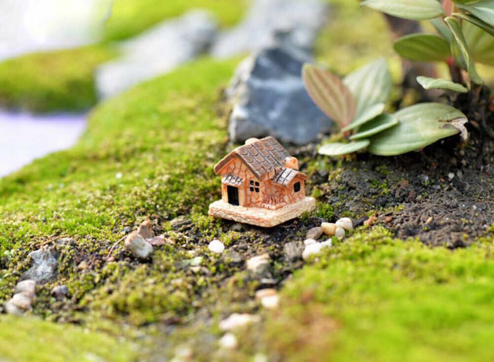 Mini casas de campo pequeñas DIY juguetes manualidades figura musgo terrario hadas jardín adorno paisaje decoración al azar Color casa de muñecas 621
