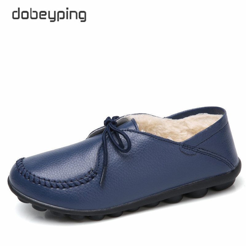 dobeyping New Winter Plush Boat Shoe Women Cow Leather Woman Flats Keep Warm Female Loafers Moccasins Mother Shoes Size 35- 44 timetang casual cow leather women shoes keep warm cotton shoes woman shallow female flats fur loafers plush winter mother c281