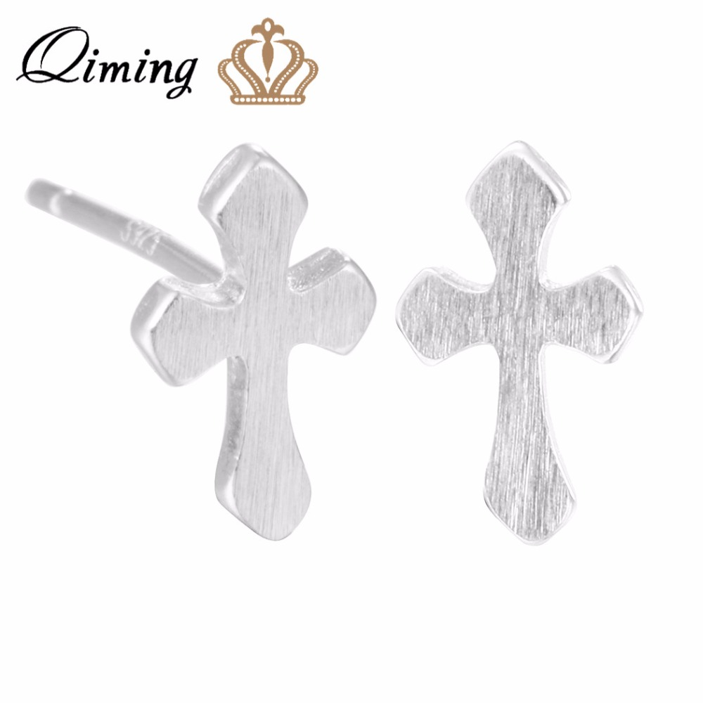 QIMING New Arrivals Silver Christian Cross Earrings For Women Men Jewelry Pendientes Bri ...