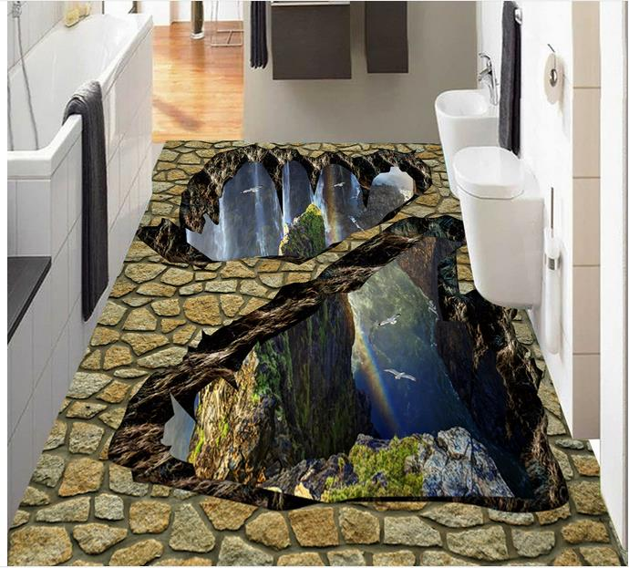 Custon 3d wallpaper 3d flooring wallpaper wall sticker Three-dimensional valley waterfall mountain to stick floor home decor
