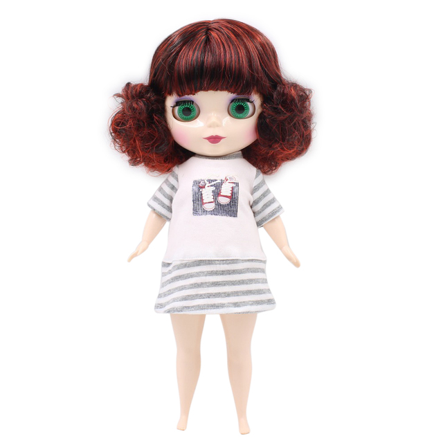 TBL Neo Blythe Doll Red Black Hair Plump Body