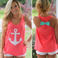 2016 Summer Fashion Women print  Anchor Casual Fancy Sleeveless Tee Bowknot  Simple Vest Tank Sexy T-Shirt Party