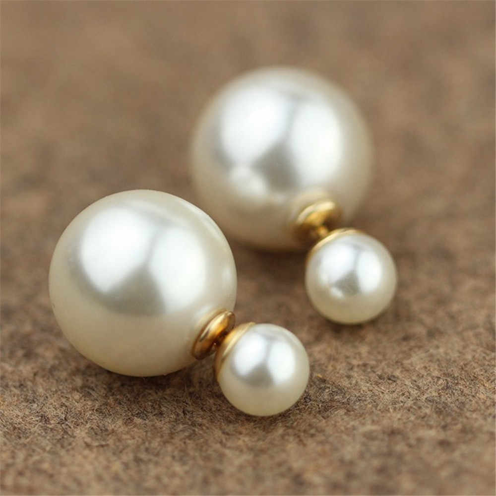 Simple Design Asymmetric Imitation Pearls Stud Earring For Women Double-Sided White Pearl Earring Fashion Jewelry A474