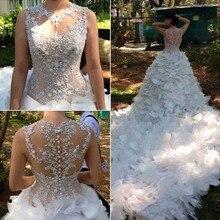 Mermaid Robe De Mariage Vestido de noiva Custom Made 2016 O neck White Wedding Dresses