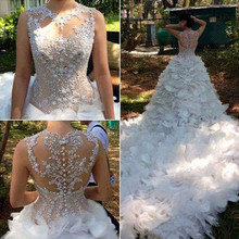 Mermaid Robe De Mariage Vestido de noiva Custom Made 2016 O-neck White Wedding Dresses With Beading Chapel Train Wedding Dress