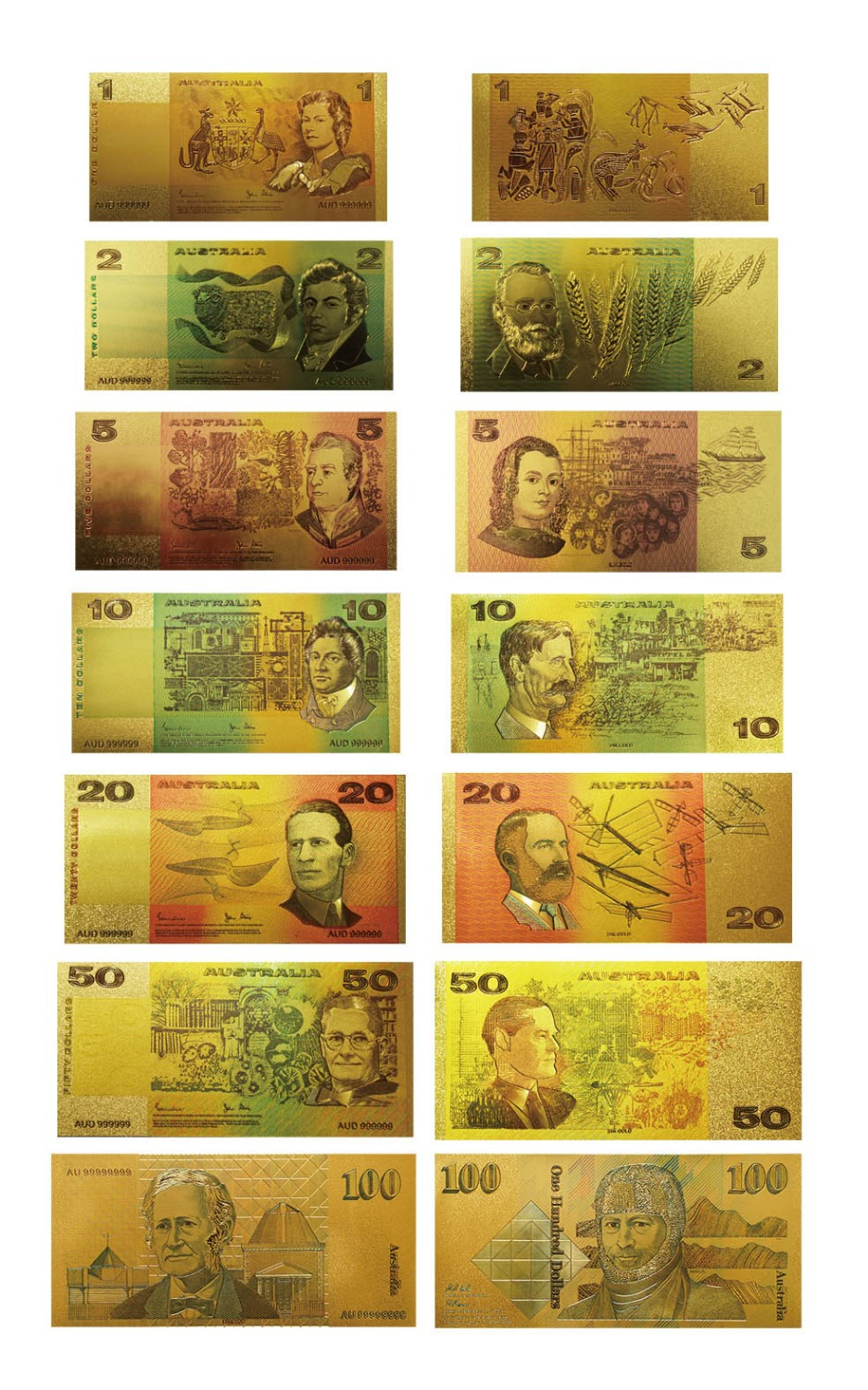 Colorful Australia Gold Banknote Old AUD 1 2 5 10 20 50 100 Banknote Set Acrylic Banknot ...
