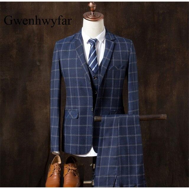 01a3460beed1 Wollmischung Navy Herringbone Tweed Britischen Stil Nach Maß Mens anzug  Schneider Kerbe Revers Blazer Hochzeit Anzüge