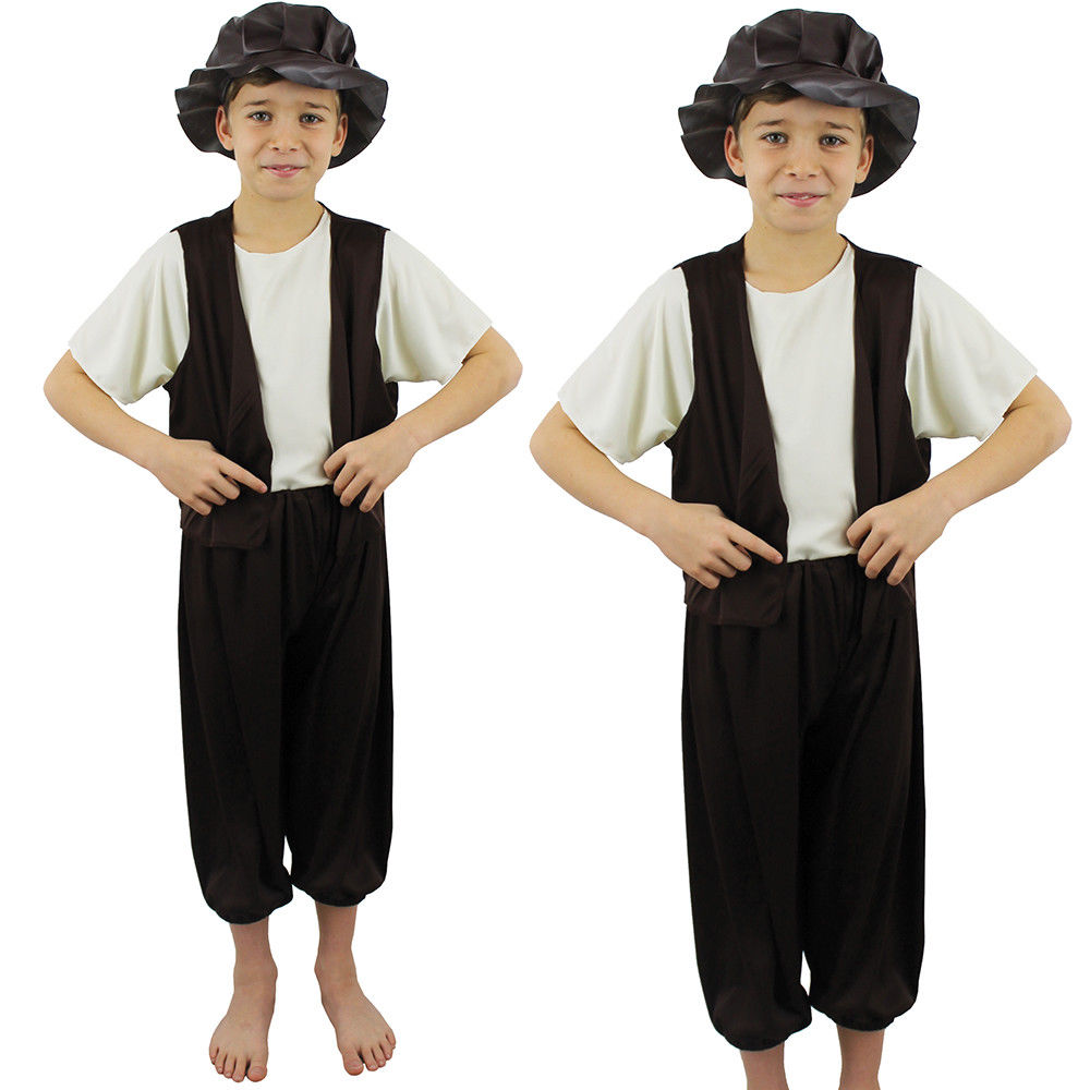 OLD ENGLISH BOYS VICTORIAN POOR BOY L COSTUME AGE 8-10