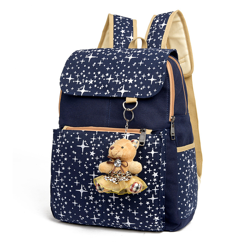 d0d41454e Fashion Composite Bag Preppy Style Backpacks For Teenage Girls High Quality  Canvas School Bags Cute Bear 3 Set Backpack Female-in Backpacks from Luggage  ...