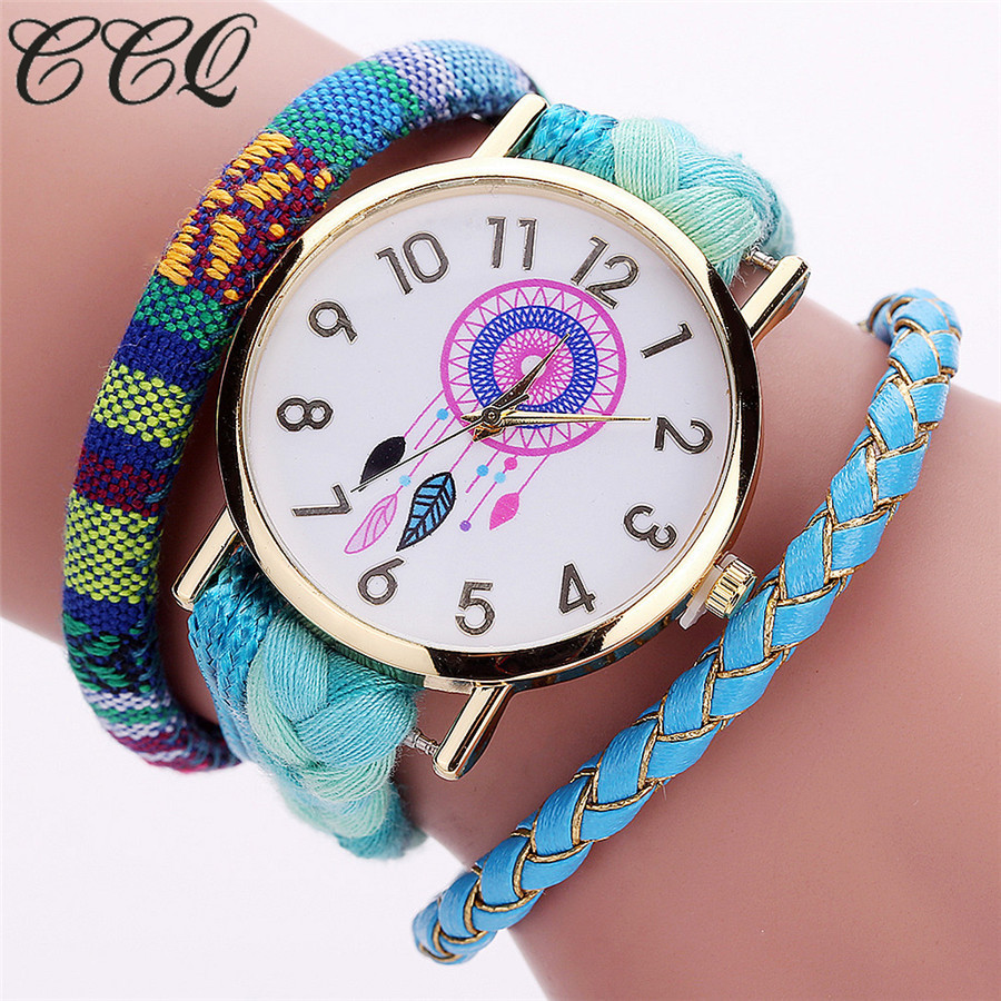Dropshipping Handmade Braided Dreamcatcher Wrist Watch Fashion Casual Leather Rope Ladies Dress Quartz Watches Hot
