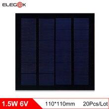 ELEGEEK 20Pcs/Lot 6V 1.5W Polycrystalline Solar Panel PET Mini Monocrystalline Solar Cell Panel for DIY and Education 110*110mm