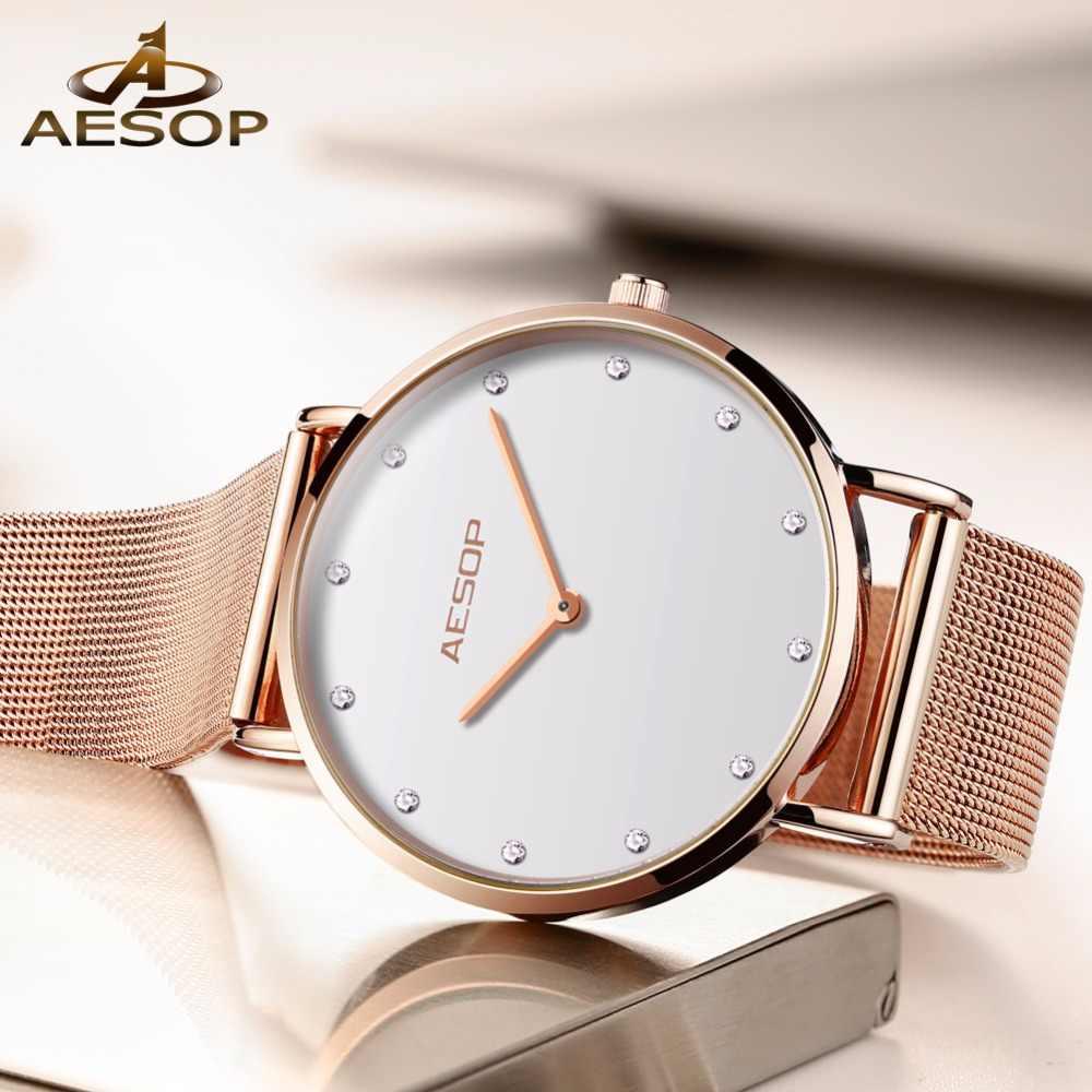 5cda485cea10 ... AESOP Watch Women Watches Rose gold Milan Stainless Stee bracelet Ladies  watch NEW Ultra-thin ...