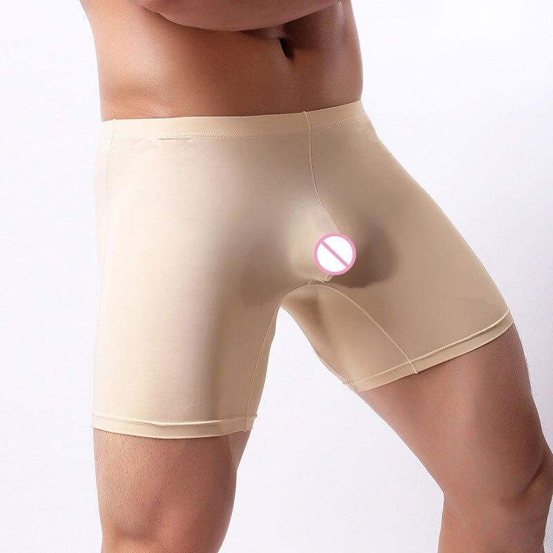 Sexy Men Plus Size Ice Silk Smooth Solid Big U Convex Pouch Half-length Boxers Long Leg Underpants Boxer Jocks Straps Gay Wear F