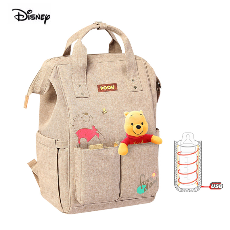 Disney Multifunction Large Capacity Nappy Diaper Backpack Minnie Mickey Baby Mother Bag Maternity Backpack Winnie the Pooh Bear