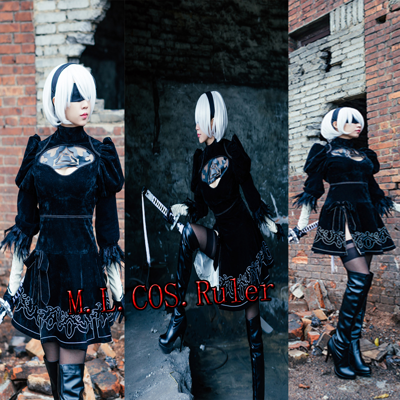 Custom Made COS NieR Automata YoRHa No 2 Type B Cosplay Costume Acessories Any Size Dress Gloves Mask Headband Free Shipping