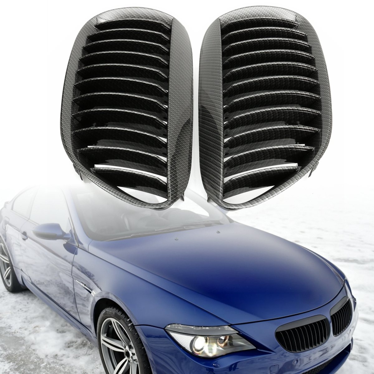 Pair Carbon Grain Kidney Grilles Front Right Left For BMW E63 E64 6 Series  2 Door Grille 2003 2004 2005 2006 2007 2008 2009 2010-in Racing Grills from  ...
