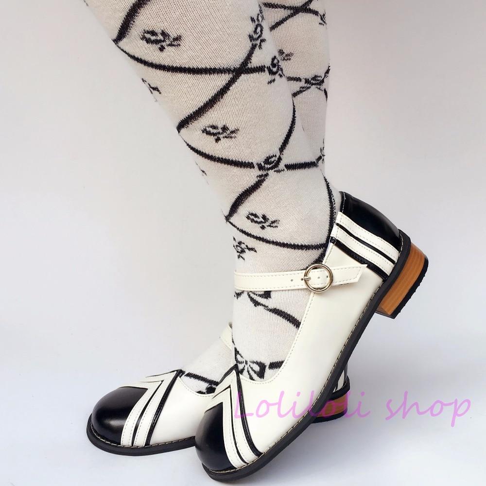 Schuhe Mehrfach Stil Krawatte Sweet Prinzessin Niedrigen Geformt Design Angepasst Japanischen Mit An8488 Schwarz Spezielle Absätzen Navy Lolita Weiß xEwwS7FT