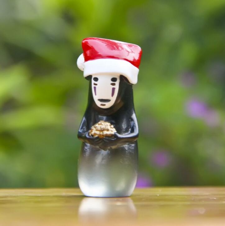 Christmas Decoration Spirited Away No Face Man Figurine Totoro Decoration  Mini Fairy Garden Ornament Statue Resin Craft TNJ026