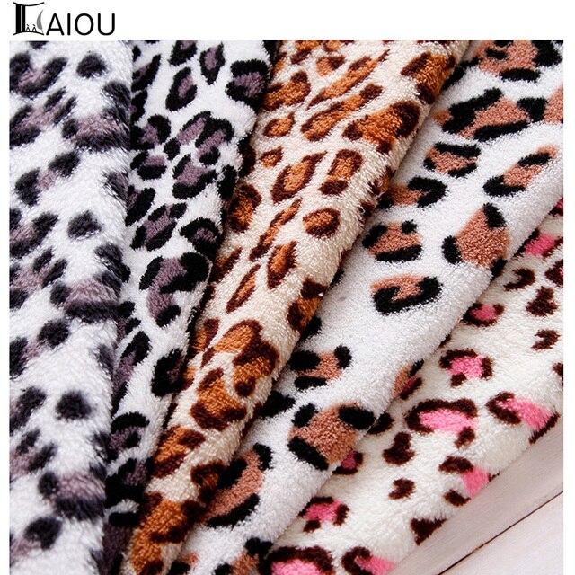 AIOU winter nähen material leopardenmuster korallen fleece stoff für ...