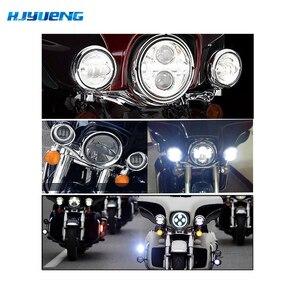 """Image 4 - 60w 7inch Led Scheinwerfer Weiß Halo Engel Auge + 2 stücke 4.5 """"Zoll Led Nebel Lichter Halo für 66 Touring Electra Glide Road"""
