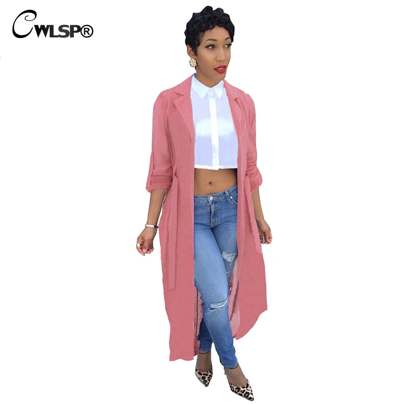CWLSP Red   Trench   Coat Womens Spring Summer Chiffon   Trench   Cardigan 2018 Female Notch Neck Casual Coat long duster coat QZ1793