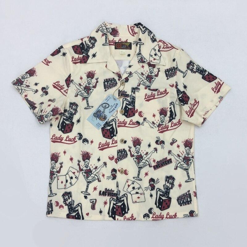 Bob dong 여름 하와이 셔츠 알로하 남성 캐주얼 셔츠 라스베가스 럭키 걸 남성 반팔 비치 하와이 파티 탑스-에서캐쥬얼 셔츠부터 남성 의류 의  그룹 1