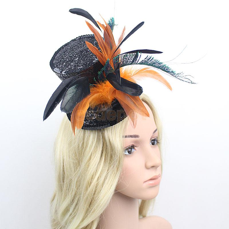 Vintage Flapper Feather Top Hat w// Sequin Decor 20s Charleston Party Fascinator