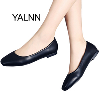 YALNN Career Women Flat Shoes New Leather Slip-on Square Toe Platform 1cm Heels Shoes Black Women Leather Girl Shoes Women
