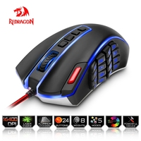 Redragon Gaming Mouse PC 16400 DPI Speed Laser Engine 22 Programmable Buttons Metal Base USB Wired