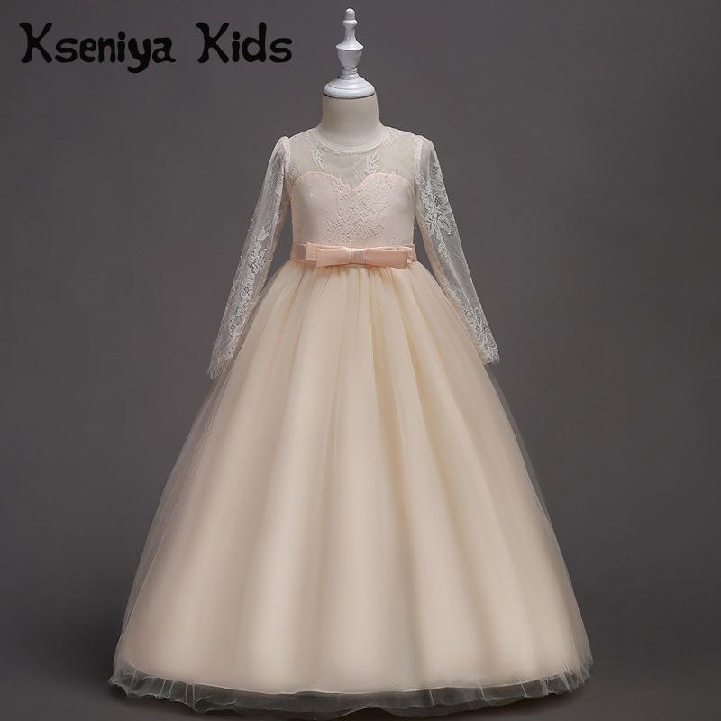 Kseniya Kids 2018 New European And American Girls Lace Long sleeved Flower Girl Wedding Dress Girls Dresses Age 13