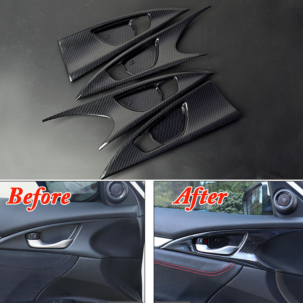 4Pcs Car Interior Carbon Fiber Color Inner Door Bowl Bezel Cover Trim Decal Decoration Fit For Honda Civic 2016 2017 Car Styling