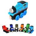 6 unids/lote Thomas y Sus Amigos de Dibujos Animados de Juguete De Madera Magnética Trenes Modelo Grandes Niños Juguetes Regalos para Los Niños Percy Handel Henry