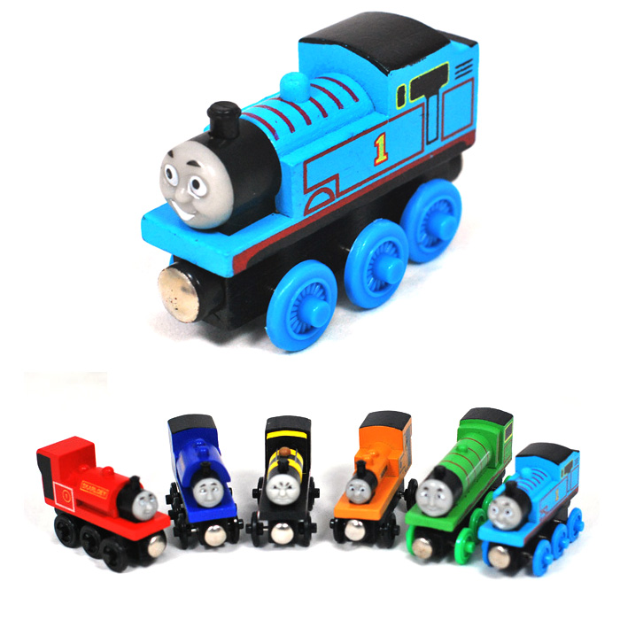 6pcs/Lot Thomas and His Friends Wooden Toy Cartoon Magnetic Trains Model Great Kids Toys Gifts for Children Percy Handel Henry