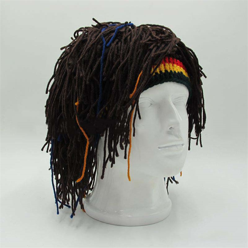 Novelty Wig Beanie Men Caps Rasta Handmade Crochet Winter Warm Hat Gorro Rasta Funny Halloween Xmas Costume Birthday Party Gift