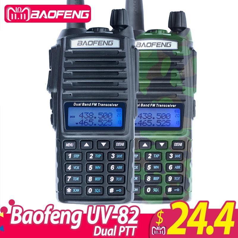 1 unidad bapiezas ofeng UV-82 Walkie Talkie UV 82 Radio portátil de dos vías Dual PTT Ham CB Radio estación VHF UHF UV82 caza transceptor