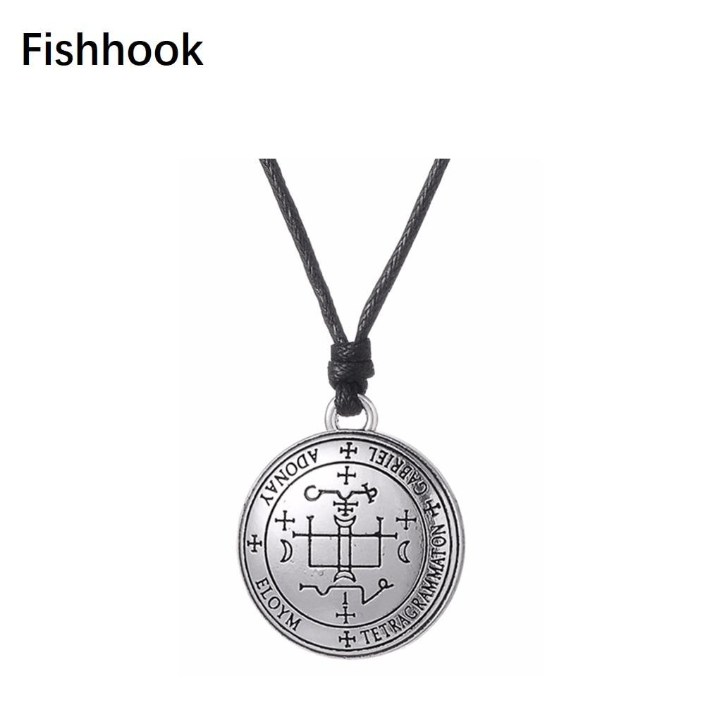 Fishhook Sigil of Archangel Gabriel Enochian Talisman Amulet Angel Jewelry  Pendant Wax Cord Adjustable Necklace for man