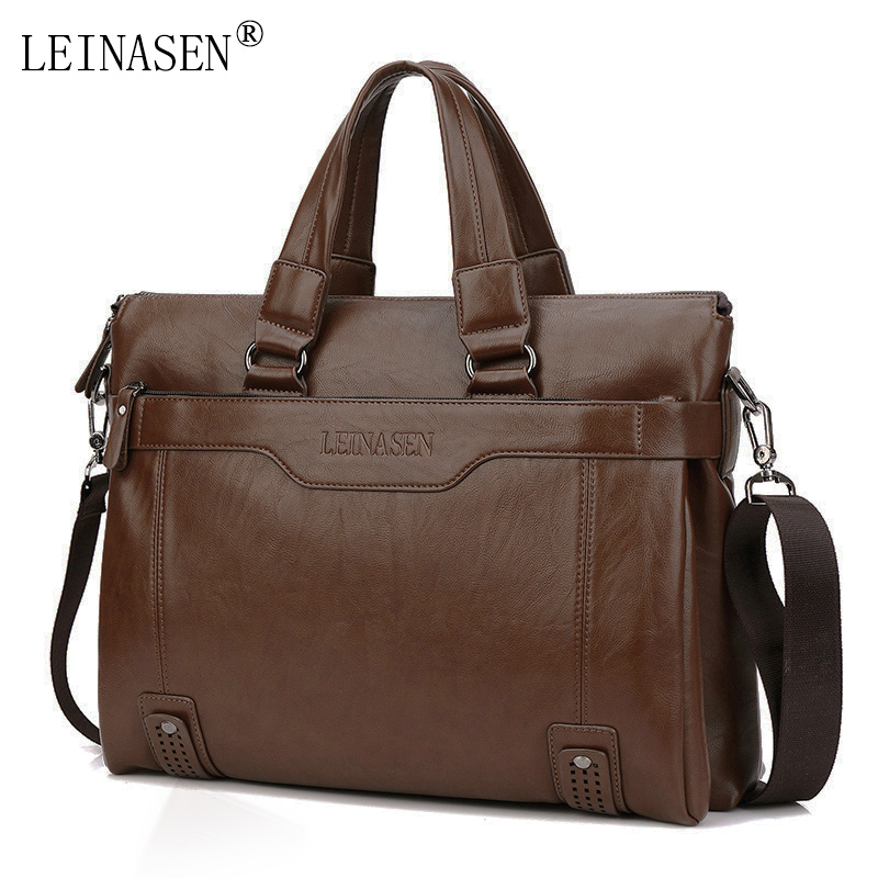 LEINASEN Brand Men Handbags Fashion Business Men Briefcase Bag pu Leather Laptop Bag Casual Zipper Design Man handbag with belt 3colors hk dashan brand men s briefcase high quality pu leather business man 15 laptop handbags black fashion casual male bags
