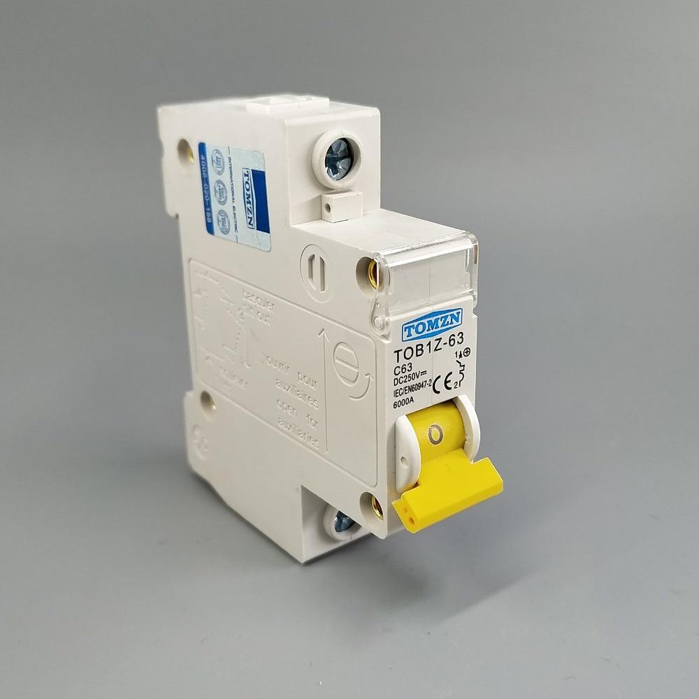 1P DC 250V Circuit breaker MCB C curve single pole direct-current fuse Dc Circuit Breaker Fuse Block Wiring on