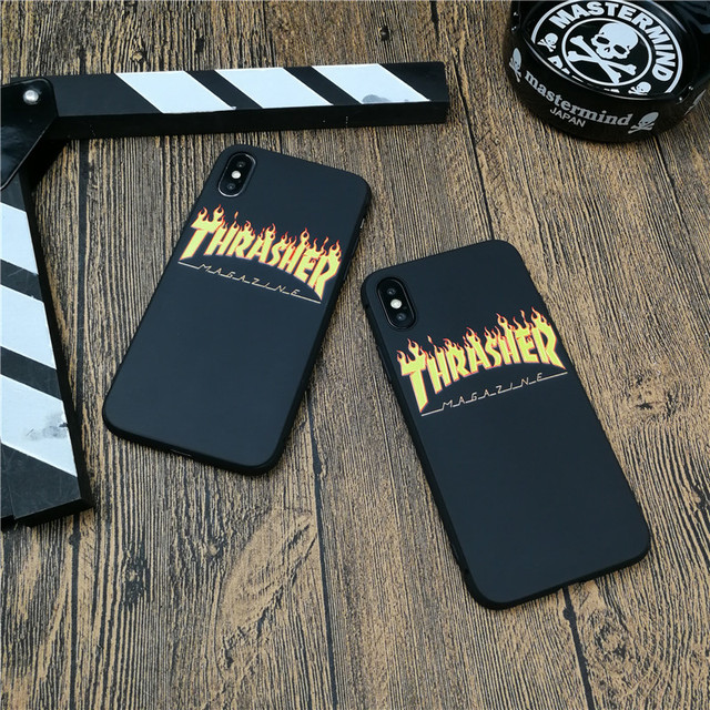 Street Fashion Skateboard Flame phone Case Cover For Iphone X XS MAX XR 10 8 7 6 6s Plus 5 5s Se matte Soft Silicone Coque funda