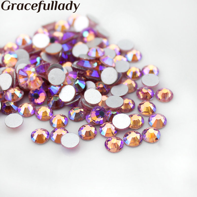 1440pcs/bag Light Rose AB Flat Back Nail Art Glue On Non Hotfix Rhinestones Diy Garment SS3 SS4 SS5 SS6 SS8 SS10 SS12 SS16 SS20