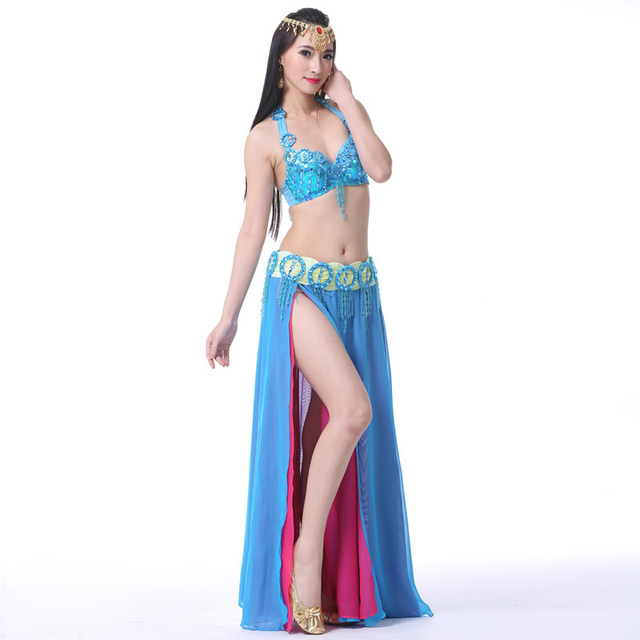 2018 Performance Belly Dancing Clothes Oriental Dance Outfits 3pcs Set Belly Dance Costume Set Beaded Bra Belt Skirt  1