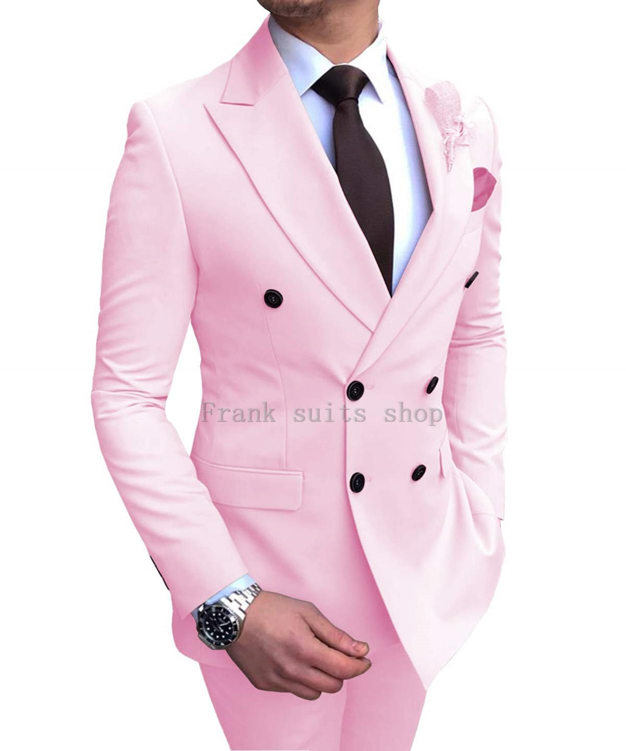 Pink Pinstriped Men/'s Suits 3 Pieces Formal Wear Peak Lapel Groom Tuxedos 2019