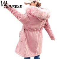 Fashion Parkas Jackets Winter Warm Faux Fur Hooded Long Coat Women 2017 New Autumn Casual Slim