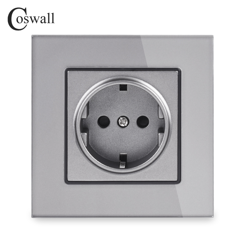 Coswall Crystal Glass Panel Wall Power Socket Grounded 16A EU Standard Electrical Outlet Black White Gold Grey Colorful