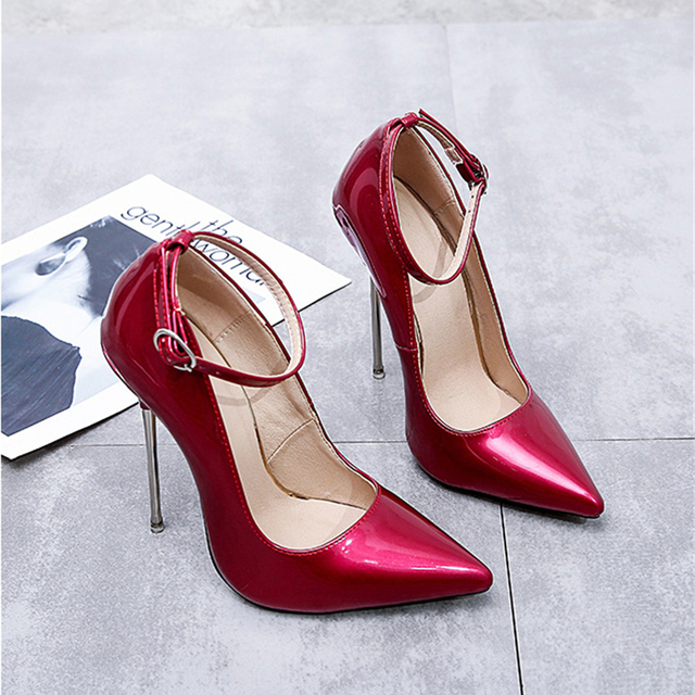 d6a6c80f27 Pumps Women Shoes Red High Heels Patent Leather Sexy Metal Stiletto Fenty  Beauty Ankle Strap Ladies Party Jelly Shoes Big Size