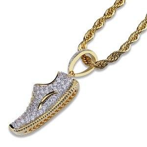 Image 4 - Ожерелье с подвеской TOPGRILLZ в стиле хип хоп, для мужчин и женщин, ожерелье с обувью, медным покрытием, микро покрытием, с фианитами, золотого цвета